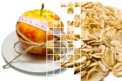 Collage av att omge för äpple av att mäta bandet som binds med, tvinnar a Royaltyfri Foto