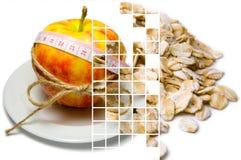 Collage av att omge för äpple av att mäta bandet som binds med, tvinnar a Royaltyfria Bilder