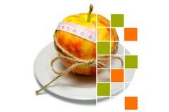 Collage av att omge för äpple av att mäta bandet som binds med, tvinnar w Arkivfoto