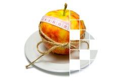 Collage av att omge för äpple av att mäta bandet som binds med, tvinnar w Fotografering för Bildbyråer