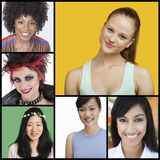 Collage av attraktiva kvinnor av olika etniciteter royaltyfri fotografi
