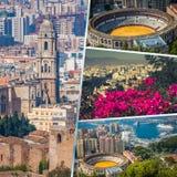 Collage av av Malaga med tjurfäktningsarenan och hamnen spain Royaltyfri Fotografi