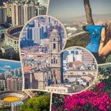 Collage av av Malaga med tjurfäktningsarenan och hamnen spain Fotografering för Bildbyråer