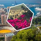 Collage av av Malaga med tjurfäktningsarenan och hamnen spain Royaltyfri Foto
