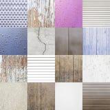 Collage av bakgrunder med texturer Arkivbild