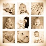 Collage av barn moder och henne behandla som ett barn arkivbild