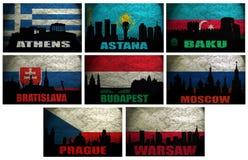 Collage av berömda Eastern Europe städer Arkivfoto
