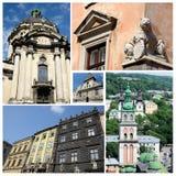 Collage av berömda Lvov gränsmärken (Ukraina), gammalt centrum Fotografering för Bildbyråer