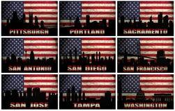 Collage av berömda USA städer från P till W vektor illustrationer