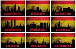 Collage av berömda spanska städer Arkivbild