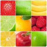 Collage av bilder av frukter royaltyfria bilder