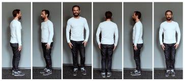 Collage av bilder av den oavkortade längden för mitt- åldrig skådespelare Royaltyfri Fotografi