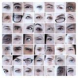 Collage av bilder med ögon Royaltyfri Foto