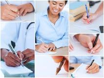 Collage av bilder som visar kvinnor att skriva royaltyfri fotografi