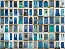 Collage av blåa dörrar fotografering för bildbyråer