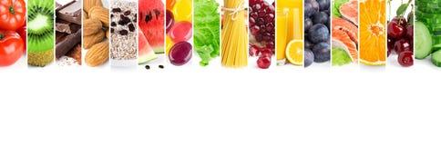 Collage av blandad ny mogen mat royaltyfria bilder
