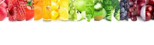 Collage av blandade frukter och grönsaker royaltyfri fotografi