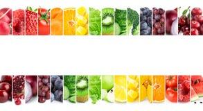 Collage av blandade frukter och grönsaker ny mat Begrepp arkivfoto
