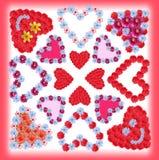 Collage av blommahjärtor, kortdesign Royaltyfria Foton