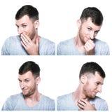 Collage av blyga, blygsamma blushful framsidauttryck Fotografering för Bildbyråer