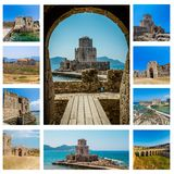 Collage av Bourtzi i Methoni, Messenia, Grekland royaltyfria bilder