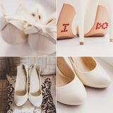 Collage av brud- skor för vitt bröllop med en pilbåge Arkivbild