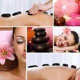 Collage av brunnsortbehandlingar och massagear arkivbilder