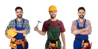 Collage av byggnadsarbetaren i likformig med olika hj?lpmedel p? royaltyfria bilder
