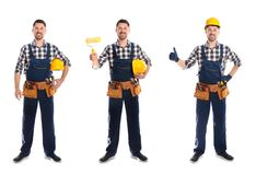 Collage av byggnadsarbetaren i likformig med olika hjälpmedel på vit arkivfoto