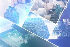 Collage av datoren stiger ombord med visuella effekter i en futuristisk stil Begreppet av moderna och framtida teknologier arkivbilder