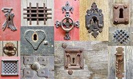 Collage av de gammala dörrarna för fragment. Arkivbild