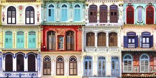 Collage av de unika fönstren. arkivfoton