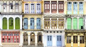 Collage av de unika fönstren. royaltyfri fotografi