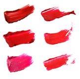 Collage av dekorativa skönhetsmedel färgar borsteläppstiftslaglängder på royaltyfri foto