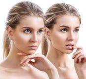 Collage av den attraktiva caucasian kvinnan med blont h?r arkivfoton