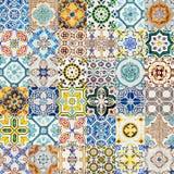 Collage av den dekorativa keramiska väggtexturmodellen i Lissabon fotografering för bildbyråer