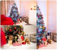 Collage av den dekorerade julgranen i ett rum Arkivbilder