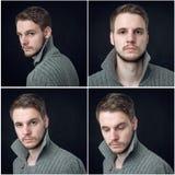 Collage av den eleganta mannen i kofta arkivfoton