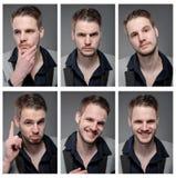 Collage av den eleganta mannen i smart kläder royaltyfria bilder