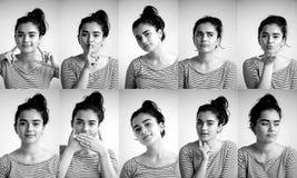 Collage av den emotionella flickan på vit bakgrund, komposit av positiva och negativa sinnesrörelser med flickan, collage royaltyfri foto
