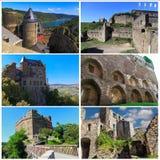 Collage av den forntida slotten Schonburg Schoenburg, Tyskland royaltyfri bild