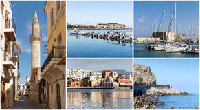Collage av den gamla stadsKreta, Grekland arkivfoto