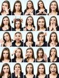 Collage av den härliga flickan med olika ansiktsuttryck royaltyfri bild