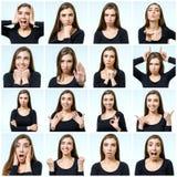 Collage av den härliga flickan med olika ansiktsuttryck arkivbild