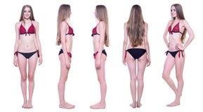 Collage av den härliga kvinnan i bikini från alla sidor arkivfoton