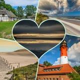 Collage av den härliga sandiga stranden Leba, Östersjön, Polen Arkivbilder