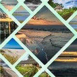 Collage av den härliga sandiga stranden Leba, Östersjön, Polen Royaltyfria Bilder
