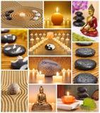 Collage av den japanska zenträdgården Royaltyfri Fotografi
