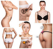 Collage av den kvinnliga kroppen med teckningspilarna Fotografering för Bildbyråer