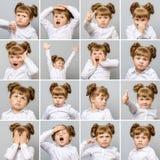 Collage av den lilla gulliga flickan med olika sinnesrörelser och gester Royaltyfria Foton